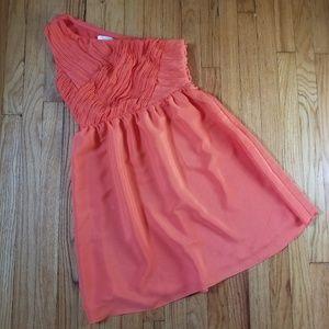 5/$25 MM Couture One-Shoulder Dress Orange Medium